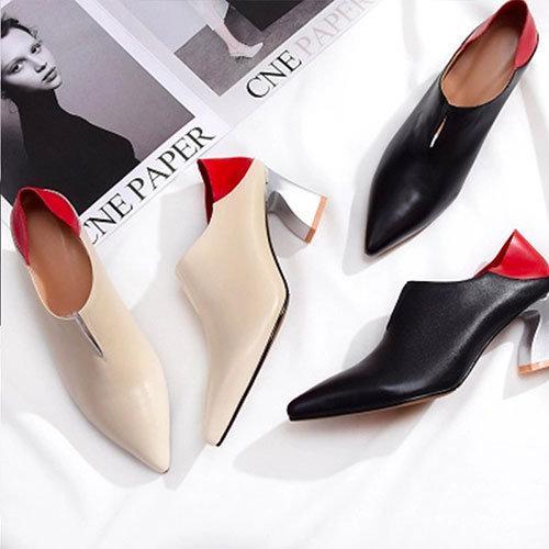 小牛皮高跟女及踝靴